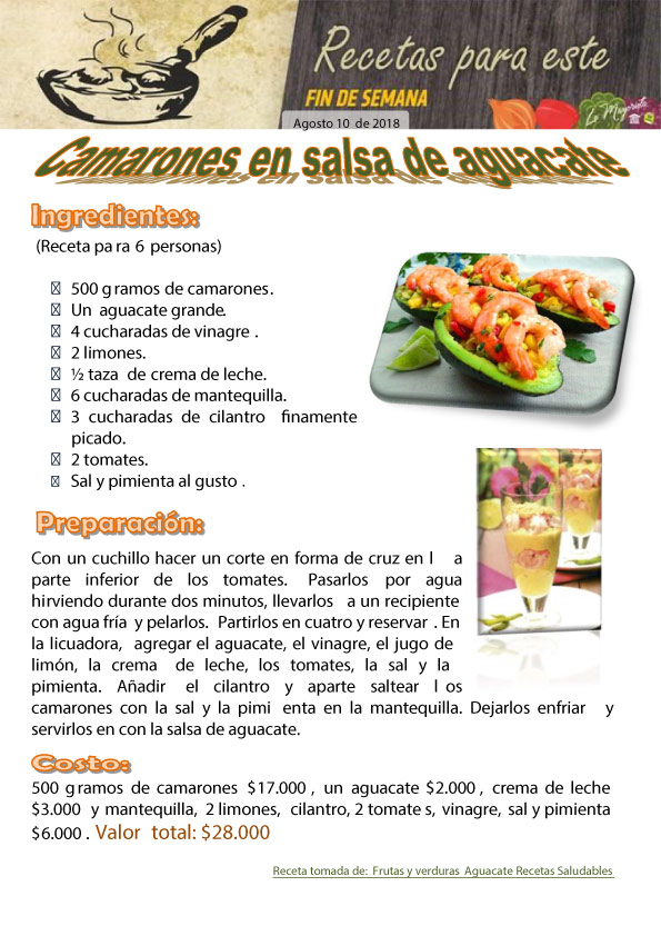 Camarones en salsa de aguacate